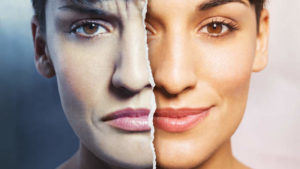 Bipolar disorder at the Apex Clinic site example where a women's face is split into two emotions sad and happy face
